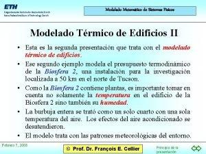 Modelado Matemtico de Sistemas Fsicos Modelado Trmico de