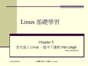 Linux Chapter 5 Linux man page VBird 20050803
