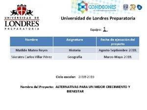 Universidad de Londres Preparatoria Equipo 1 Nombre Asignatura