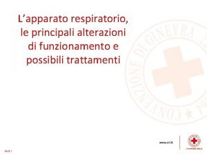 Lapparato respiratorio le principali alterazioni di funzionamento e