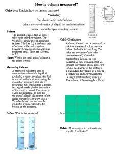 How is volume measured Objective Explain how volume