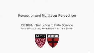 Perceptron and Multilayer Perceptron CS 109 A Introduction