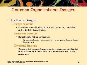 Common Organizational Designs Traditional Designs Simple Structure Low