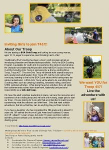 Inviting Girls to join T 457 About Our