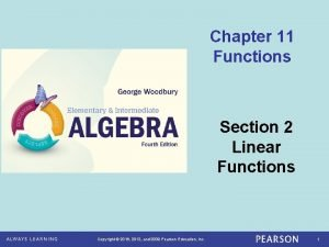 Chapter 11 Functions Section 2 Linear Functions Copyright