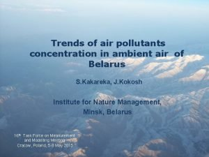 Trends of air pollutants concentration in ambient air