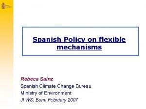Spanish Policy on flexible mechanisms Rebeca Sainz Spanish