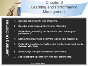 Learning Outcomes Chapter 6 Learning and Performance Management