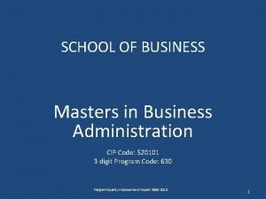 SCHOOL OF BUSINESS Masters in Business Administration CIP