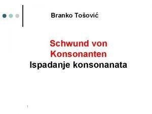 Branko Toovi Schwund von Konsonanten Ispadanje konsonanata 1