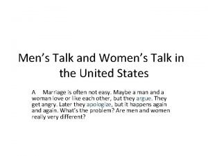 Mens Talk and Womens Talk in the United