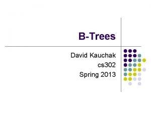 BTrees David Kauchak cs 302 Spring 2013 Admin