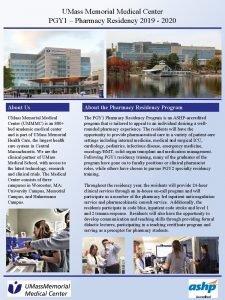 UMass Memorial Medical Center PGY 1 Pharmacy Residency