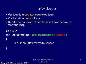 For Loop For loop is a counter controlled
