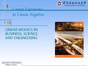 1 Linear Equations in Linear Algebra 1 10