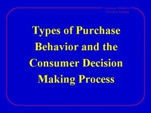 Consumer Behavior Decision making Types of Purchase Behavior