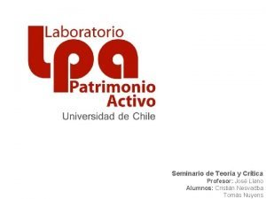 Seminario de Teora y Crtica Profesor Jos Llano
