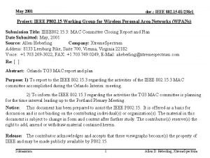 May 2001 doc IEEE 802 15 01238 r