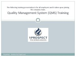 The following training presentation is for all employees