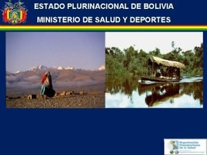 ESTADO PLURINACIONAL DE BOLIVIA MINISTERIO DE SALUD Y