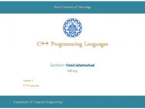 Sharif University of Technology C Programming Languages Lecturer