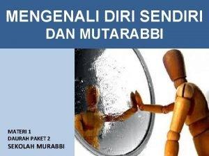 MENGENALI DIRI SENDIRI DAN MUTARABBI MATERI 1 DAURAH