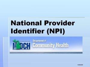 National Provider Identifier NPI NPI 1042006 NPI Background