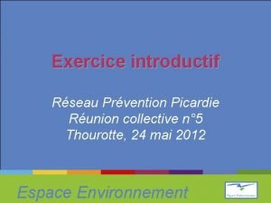 Exercice introductif Rseau Prvention Picardie Runion collective n