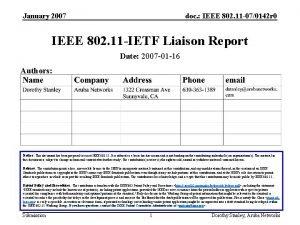 January 2007 doc IEEE 802 11 070142 r