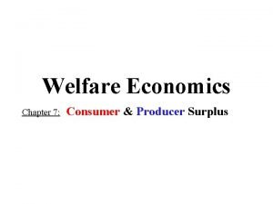 Welfare Economics Chapter 7 Consumer Producer Surplus CONSUMER