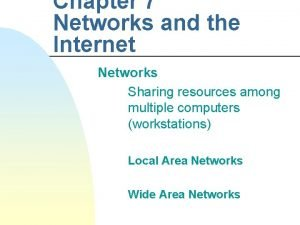 Chapter 7 Networks and the Internet Networks Sharing