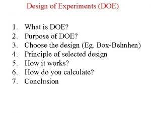 Design of Experiments DOE 1 2 3 4