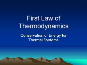 First Law of Thermodynamics Conservation of Energy for
