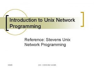 Introduction to Unix Network Programming Reference Stevens Unix