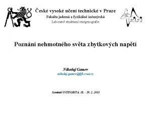 esk vysok uen technick v Praze Fakulta jadern