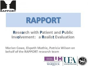 RAPPORT Research with Patient and Public Involvement a