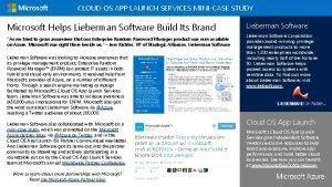 CLOUD OS APP LAUNCH SERVICES MINICASE STUDY Microsoft