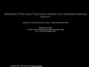 Nickel Block of Three Cloned TType Calcium Channels