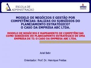 MODELO DE NEGCIOS E GESTO POR COMPETNCIAS BALIZAS