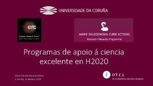 Programas de apoio ciencia excelente en H 2020