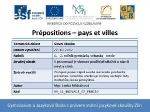 Prpositions pays et villes Tematick oblast Slovn zsoba
