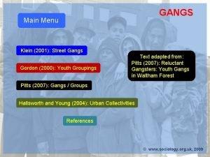 GANGS Main Menu Klein 2001 Street Gangs Gordon