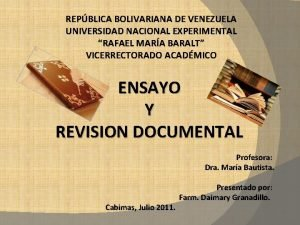 REPBLICA BOLIVARIANA DE VENEZUELA UNIVERSIDAD NACIONAL EXPERIMENTAL RAFAEL