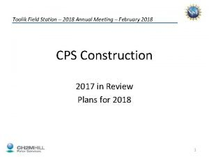 Toolik Field Station 2018 Annual Meeting February 2018