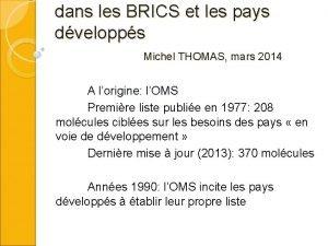 dans les BRICS et les pays dvelopps Michel