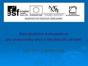 Sociokulturn kompetence pro pracovnky kol a kolskch zazen
