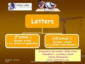 Letters Formal Business letters e g letters of