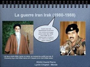 La guerre Iran Irak 1980 1988 Guerre Iran
