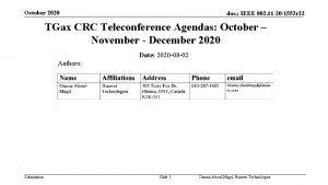 October 2020 doc IEEE 802 11 201552 r