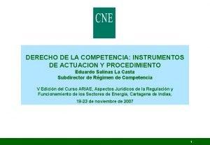 DERECHO DE LA COMPETENCIA INSTRUMENTOS DE ACTUACION Y